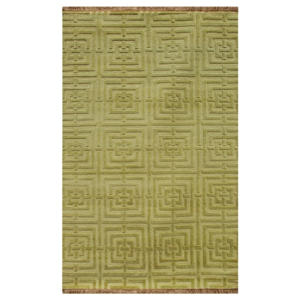 Hand-knotted Geometric Willow Wool Rug (5' x 8')