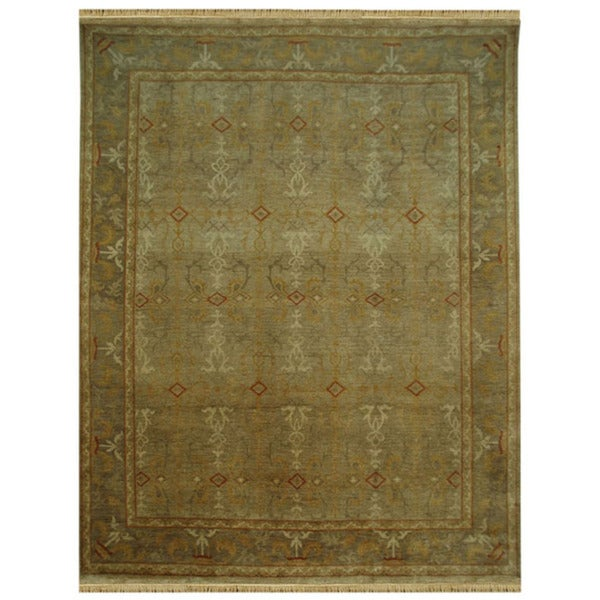 Hand-knotted Oriental Sand Wool Rug (6'6 x 9'6)