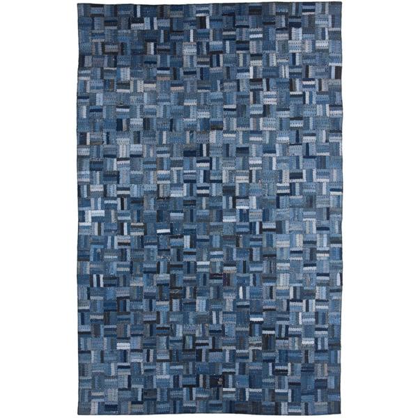 Hand-knotted Abstract Denim Blue Wool/ Art-silk Rug (5' x 8')