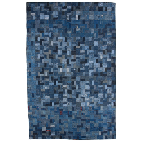 Hand-Knotted Abstract Denim Blue Wool Area Rug (5' x 8')