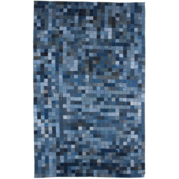 Stylish Hand-Knotted Abstract Denim Blue Wool Rug (5' x 8')