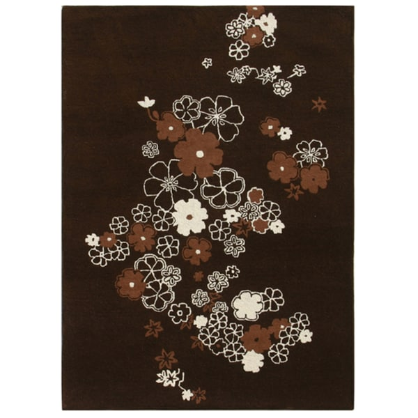 Hand-knotted Floral Mahogany Wool Rug (5' x 7')