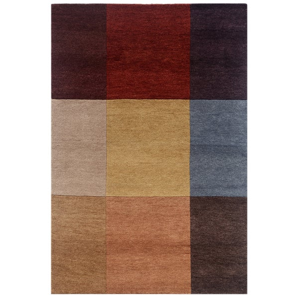 Hand-knotted Geometric Brick Red Wool Rug (4'8 x 6'10)