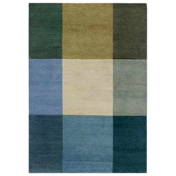 Hand-knotted Geometric Light Turquoise Wool Rug (5'6 x 7')