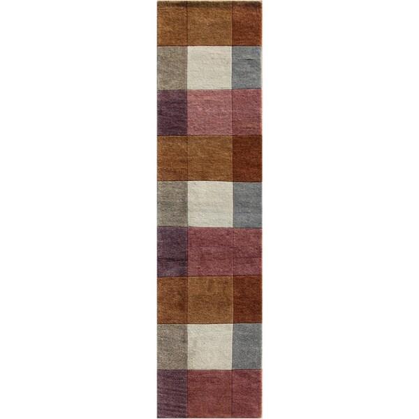 Hand-knotted Geometric Orange Berry Wool Rug (2'6 x 9')