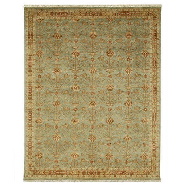 Hand-knotted Oriental Celadon Green Wool Rug (5'3 x 7'7)