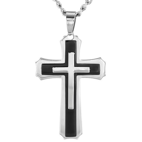 Stainless Steel Black Plated Cross Pendant Necklace