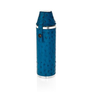 10 oz. Hunter's Flask with 2 Cups in Blue Embossed Ostrich Genuine Leather