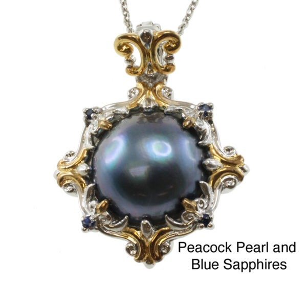 Michael Valitutti Two-tone Mabe Pearl and Sapphire Pendant