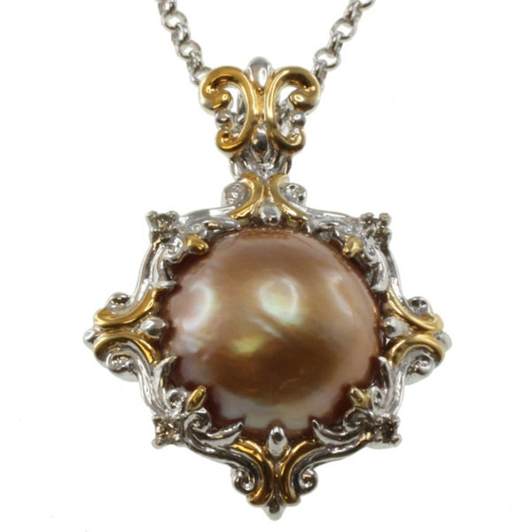 Michael Valitutti Two-tone Gold Mabe Pearl and Champagne Diamond Pendant