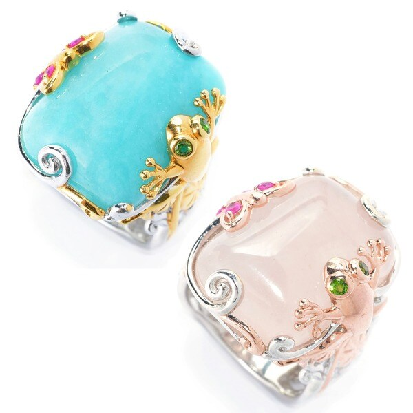 Michael Valitutti Two-tone Amazonite/ Rose Quartz Frog, Butterfly and Flower Ring