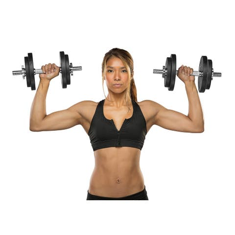 Marcy Threaded Dumbbell Handles - Silver