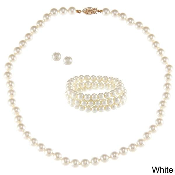 Alexa Starr Glass Pearl 3-piece Jewelry Set