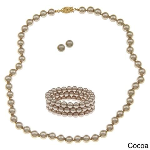 Glass Pearl 3-piece Jewelry Set