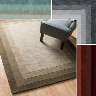 "Hand-Tufted Mid-century Solid Border Wool Rug - 9'3"" x 13'"