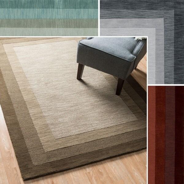 Hand-Tufted Mid-century Solid Border Wool Rug - 9'3 x 13'
