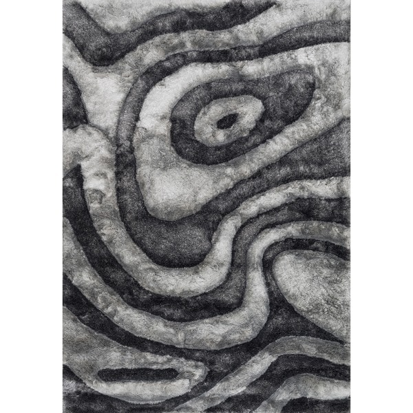 Hand-woven Glam Grey Abstract Shag Area Rug - 5' x 7'6