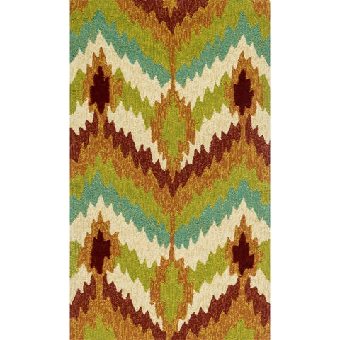 "Indoor/Outdoor Hand-hooked Portia Multi Rug (2'3 x 3'9) - 2'3"" x 3'9"""