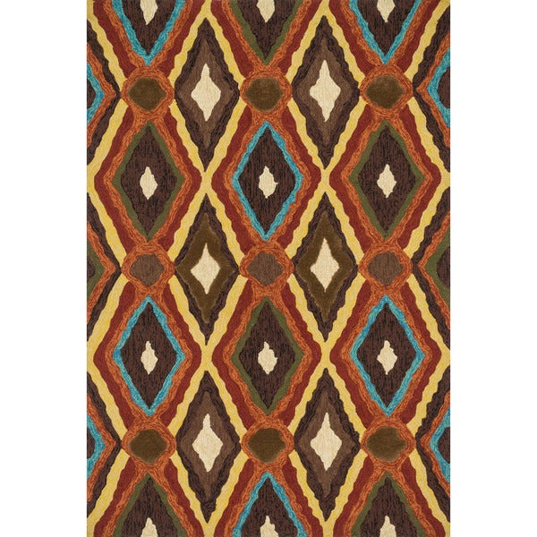 Indoor/ Outdoor Hand-hooked Portia Brown Rug (3'6 x 5'6)