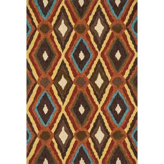 Indoor/ Outdoor Hand-hooked Portia Brown Rug (5' x 7'6)
