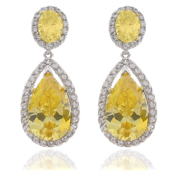 Dolce Giavonna Silver Overlay Yellow and White Cubic Zirconia Teardrop Dangle Earrings