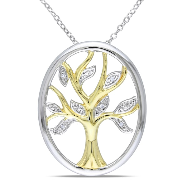 Sterling Silver Diamond Accent Tree Necklace