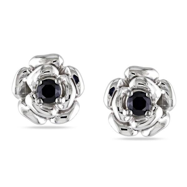 M by Miadora Sterling Silver Black Spinel Flower Earrings