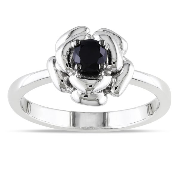 Miadora Sterling Silver Black Spinel Flower Ring