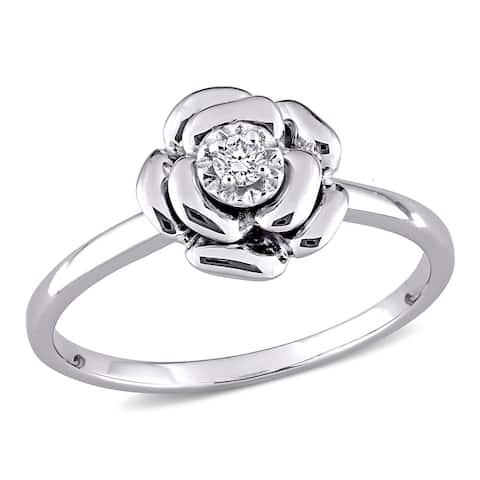 Miadora Sterling Silver Diamond Accent Flower Ring