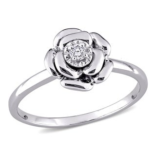 Miadora Sterling Silver or Rose Gold Over Silver Diamond Accent Flower Ring