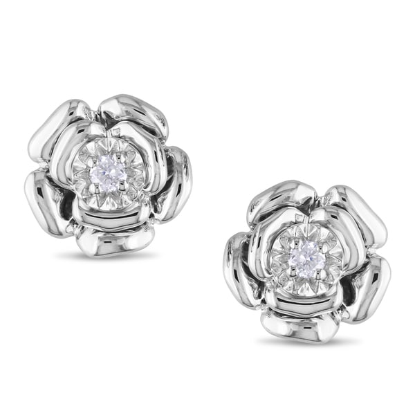 Miadora Sterling Silver Diamond Accent Flower Earrings