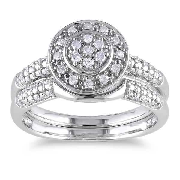 Miadora Sterling Silver 1/6ct TDW Diamond Bridal Halo Ring Set