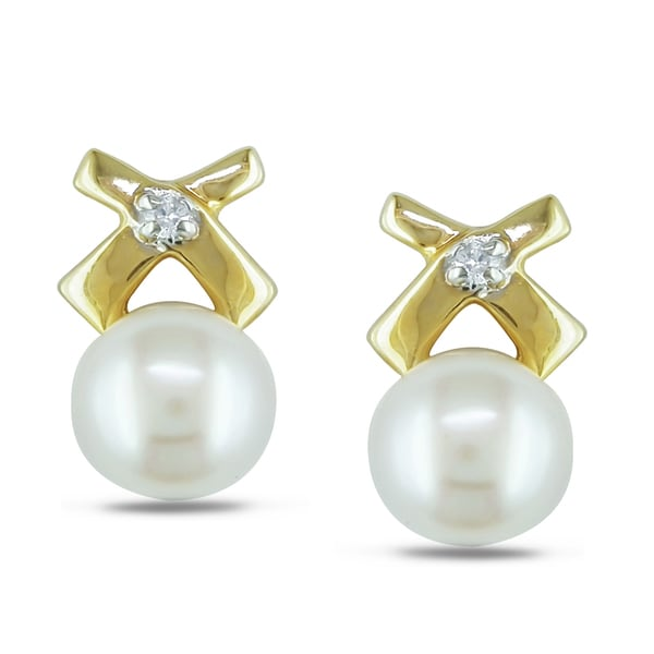 Miadora 14k Yellow Gold Pearl and Diamond Accent Earrings (6-6.5 mm)