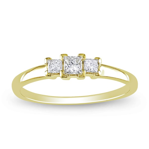 Miadora 14k Yellow Gold 1/4ct TDW Diamond 3-stone Ring