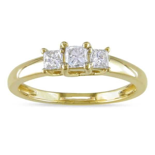 Miadora 14k Yellow Gold 1/2ct TDW Diamond 3-stone Ring (G-H, SI1)