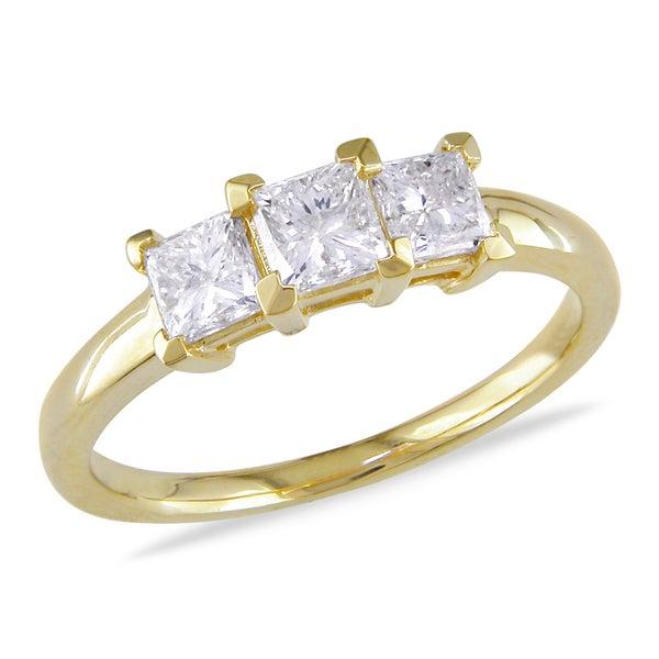 Miadora Signature Collection 14k Yellow Gold 1ct TDW Diamond Three Stone Ring (G-H, SI1-SI2)