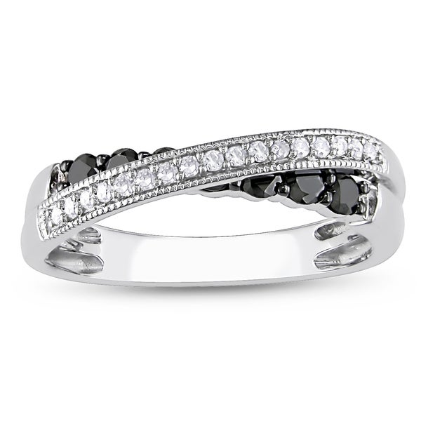 Miadora 10k Gold 1/5ct TDW Black and White Diamond Ring