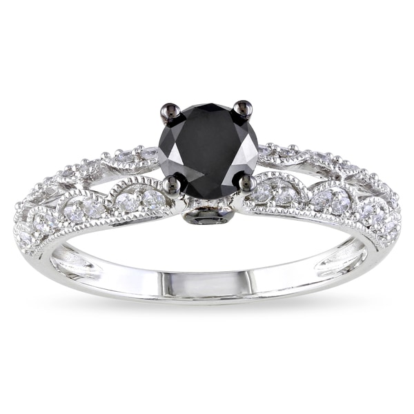 Miadora 14k White Gold 1ct TDW Black-and-white Round-cut Diamond Ring (G-H, I1-I2)