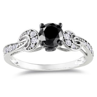 Miadora 14k White Gold 1ct TDW Black-and-white Prong-set Diamond Ring