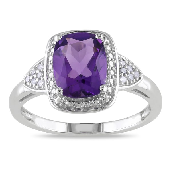 Miadora 10k White Gold Cushion-cut Amethyst and Diamond Accent Ring