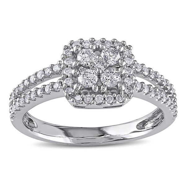 Miadora 10k White Gold 1/2ct TDW Round-cut Diamond Halo Ring