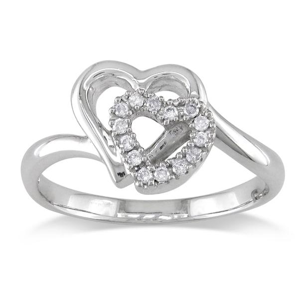 Miadora 14k White Gold 1/10ct TDW Diamond Double Heart Ring (I-J,I2)