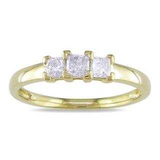 Miadora 10k Yellow Gold 1/2ct TDW 3-Stone Princess Cut Diamond Ring