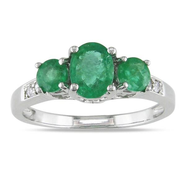Miadora 14k White Gold Emerald and Diamond Accent 3-stone Ring