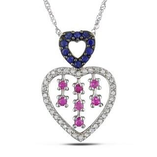 Miadora 14k Gold Sapphire and 1/6ct TDW Diamond Necklace (H-I, I2-I3)
