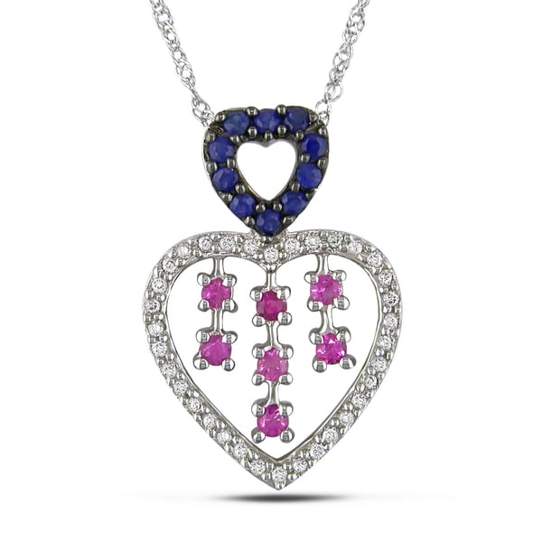Miadora 14k Gold Sapphire and 1/6ct TDW Diamond Necklace (H-I, I2-I3)