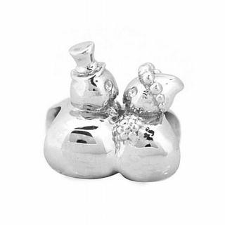 De Buman Sterling Silver Couple Snowman Charm Bead