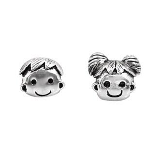De Buman Sterling Silver Boy and Girl Smiley Face Charm Bead