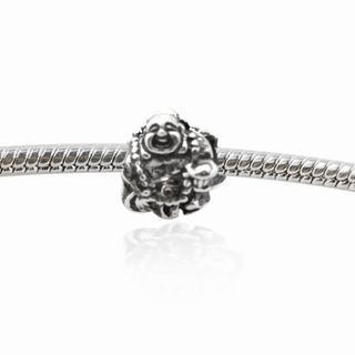 De Buman Sterling Silver Smiley Buddha Charm Bead