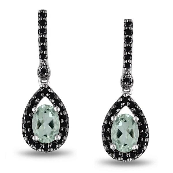 Miadora Silver Green Amethyst and 1/2ct TDW Black Diamond Earrings